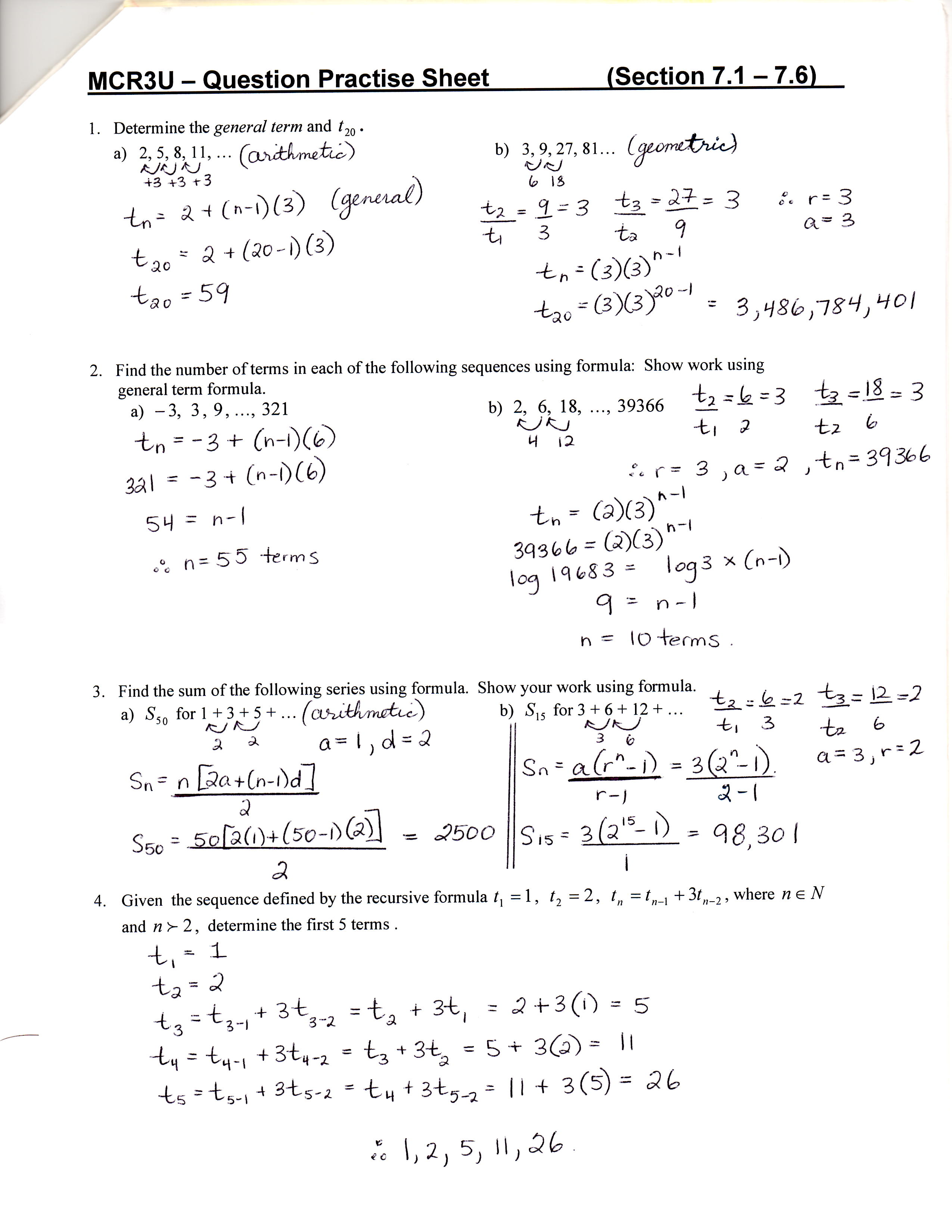 Unit 7 8 Sequences Series and Financial Applications D – Arithmetic Sequences and Series Worksheet