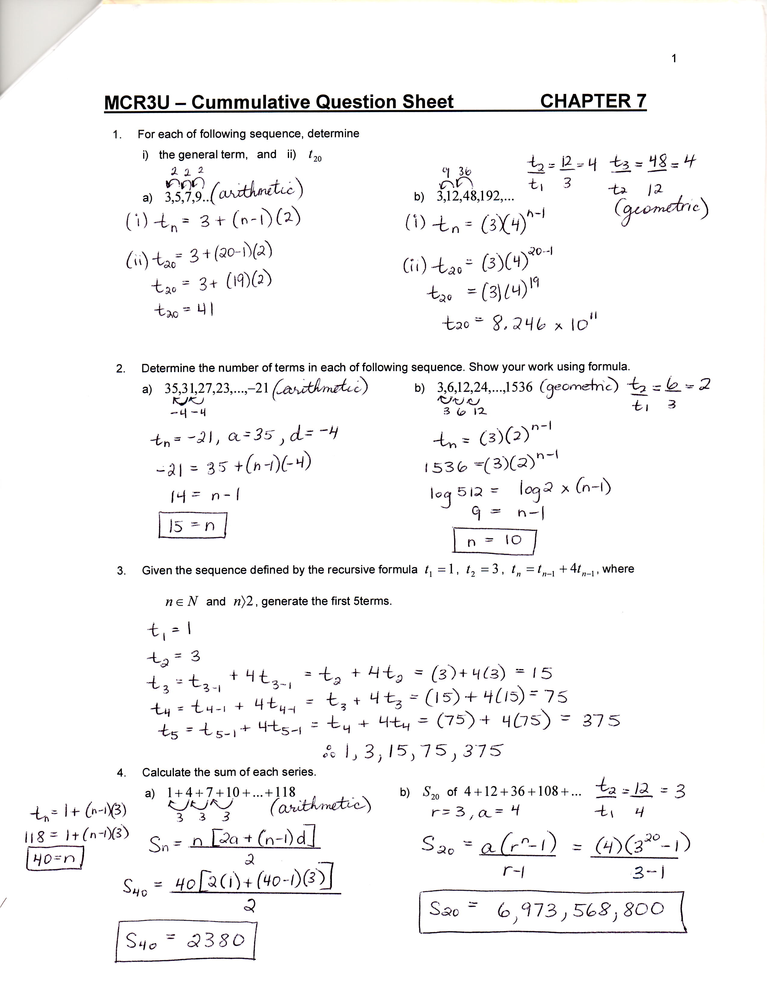Unit 7 8 Sequences Series and Financial Applications D – Financial Maths Worksheets